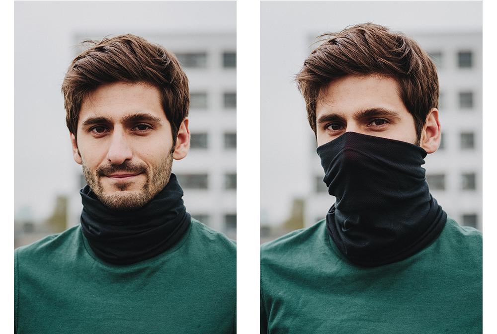 Zwei Lagen Stoff schützen deinen Hals